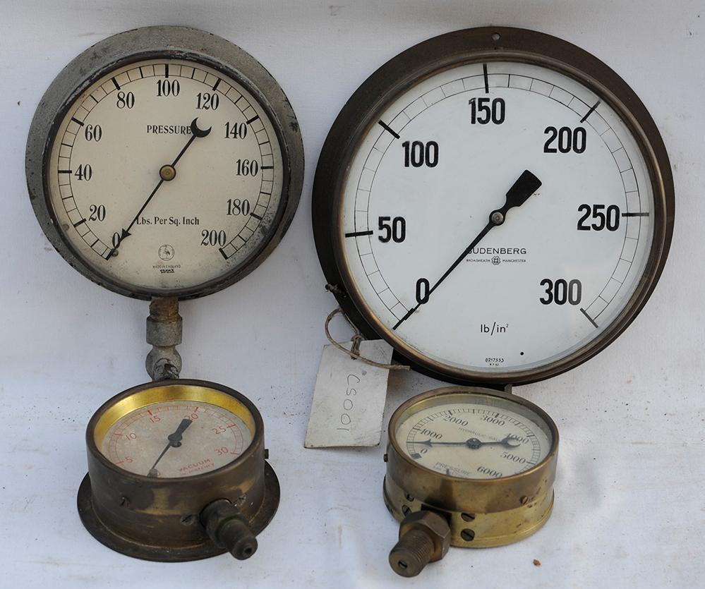 4 X Brass Pressure Gauges. 8 Inch Budenberg 0 -