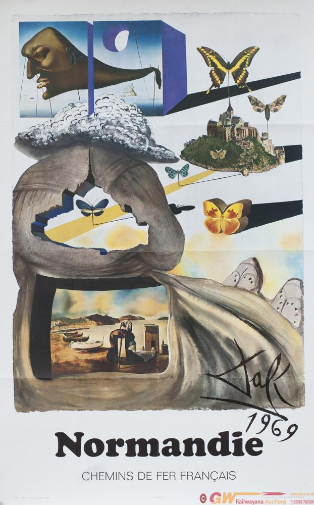 Poster SNCF NORMANDIE By Salvador Dali 1969, Dated