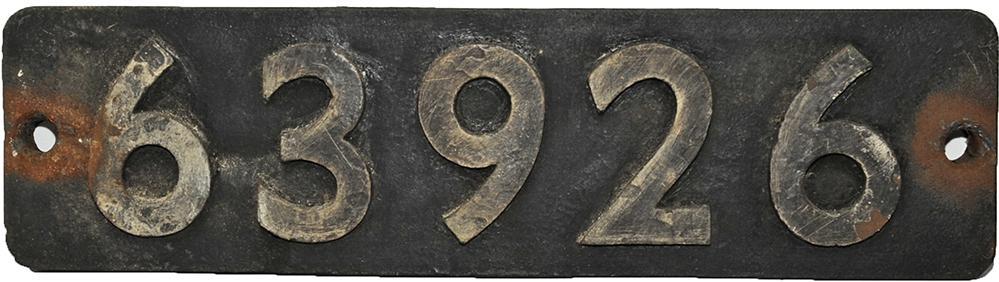 Smokebox Numberplate 63926. Ex LNER 2-8-0 Gresley