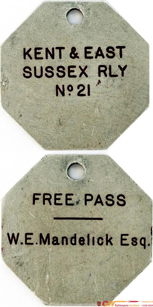 Kent And East Sussex Railway Free Pass no21 Issued