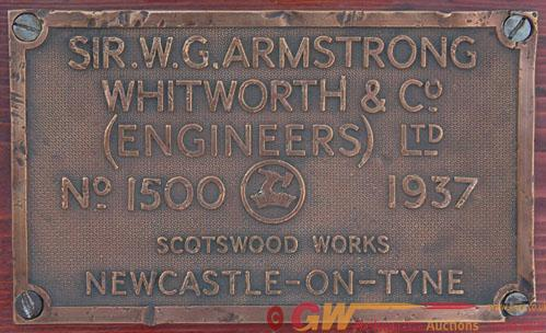 Worksplate Armstrong Whitworth & Co  No 1500 Dated