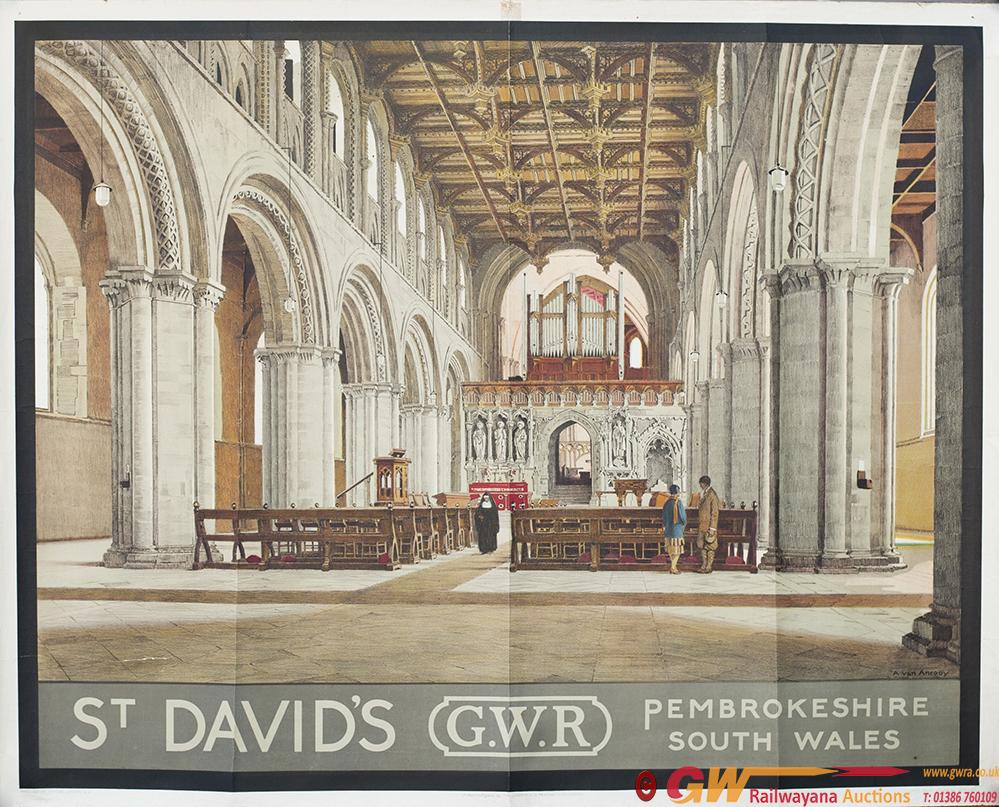 Poster GWR ST DAVID'S PEMBROKESHIRE SOUTH WALES By