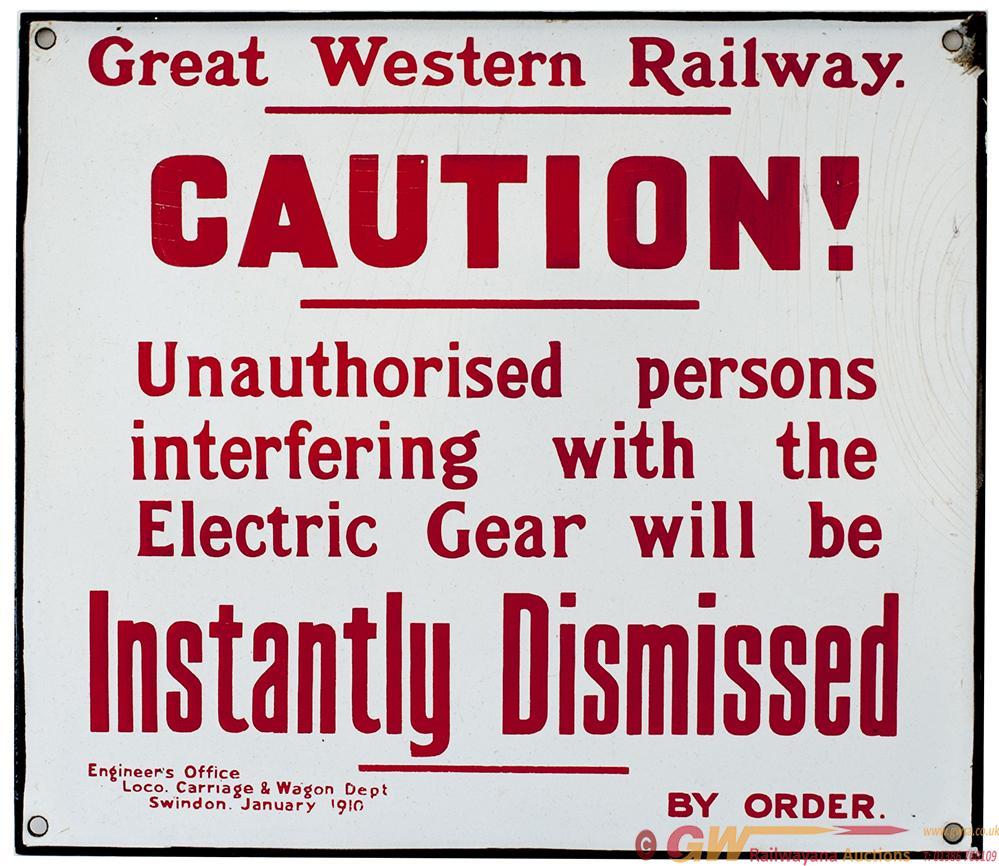 GWR Enamel. Great Western Railway. Caution