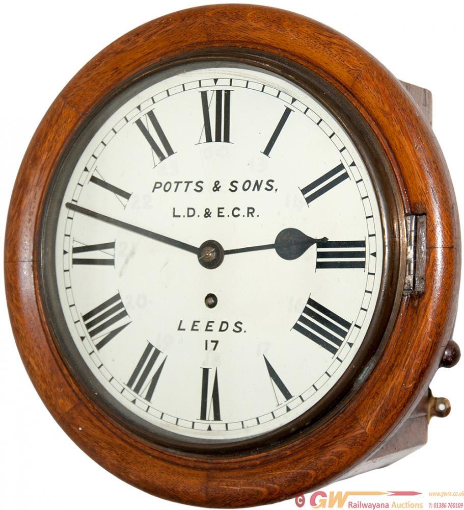 LD&ECR 10in Oak Cased Fusee Clock By POTTS & SONS