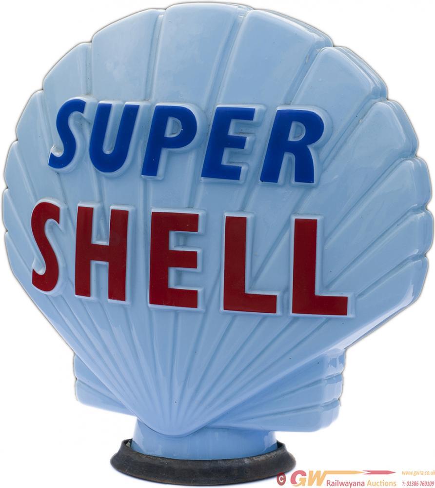 Original Shell Glass Petrol Pump Globe, SUPER