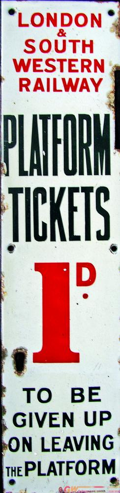 LSWR Enamel 1d Platform Ticket Machine Face Plate.