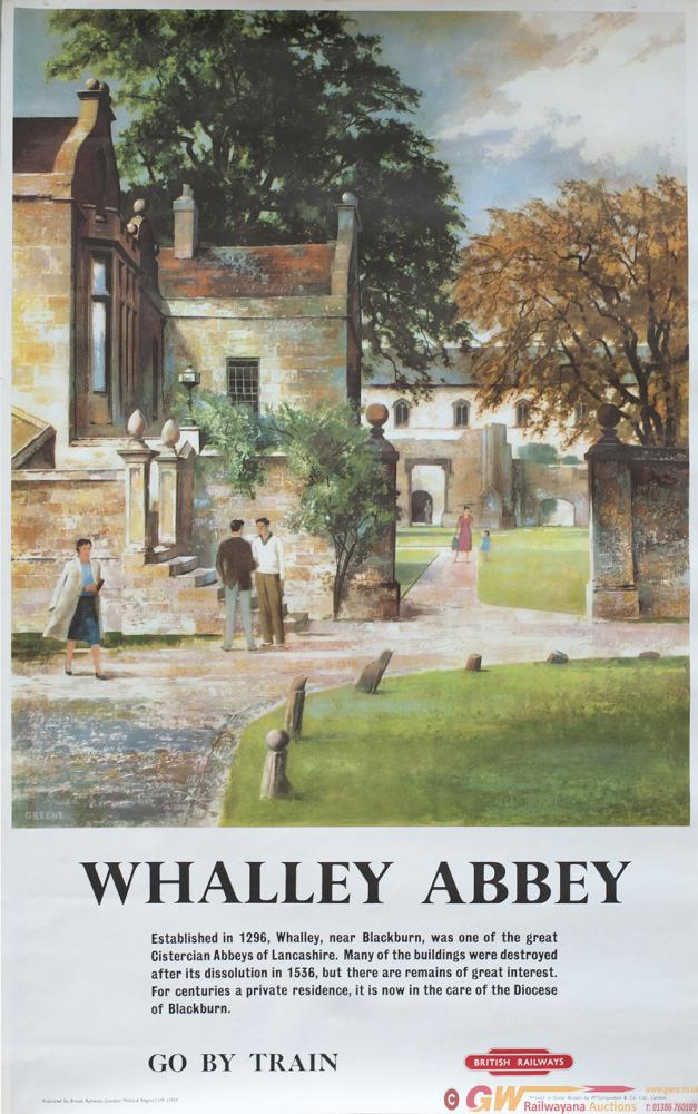 Poster BR WHALLEY ABBEY By Greene Circa 1959