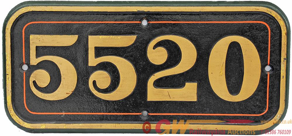 GWR Cast Iron Cabside Numberplate 5520. Ex Collett