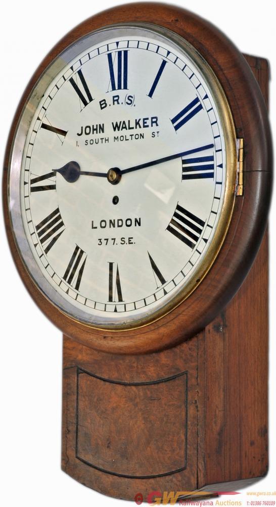 South Eastern Railway 14in Walnut Cased Drop Dial