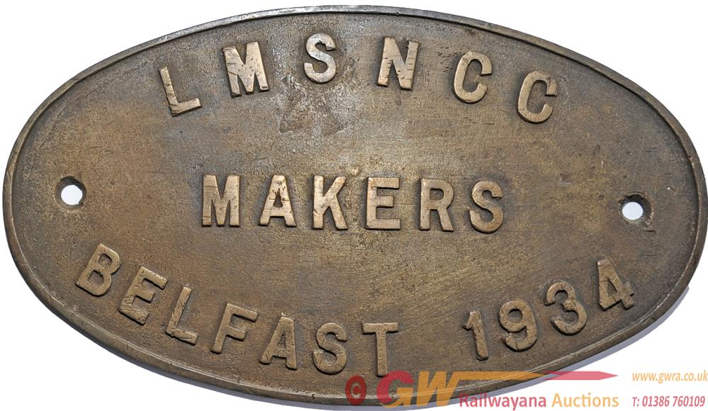Worksplate LMSNCC Makers Belfast 1934, Oval Brass.