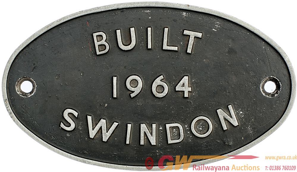 Diesel Worksplate BUILT 1964 SWINDON Ex Class 14
