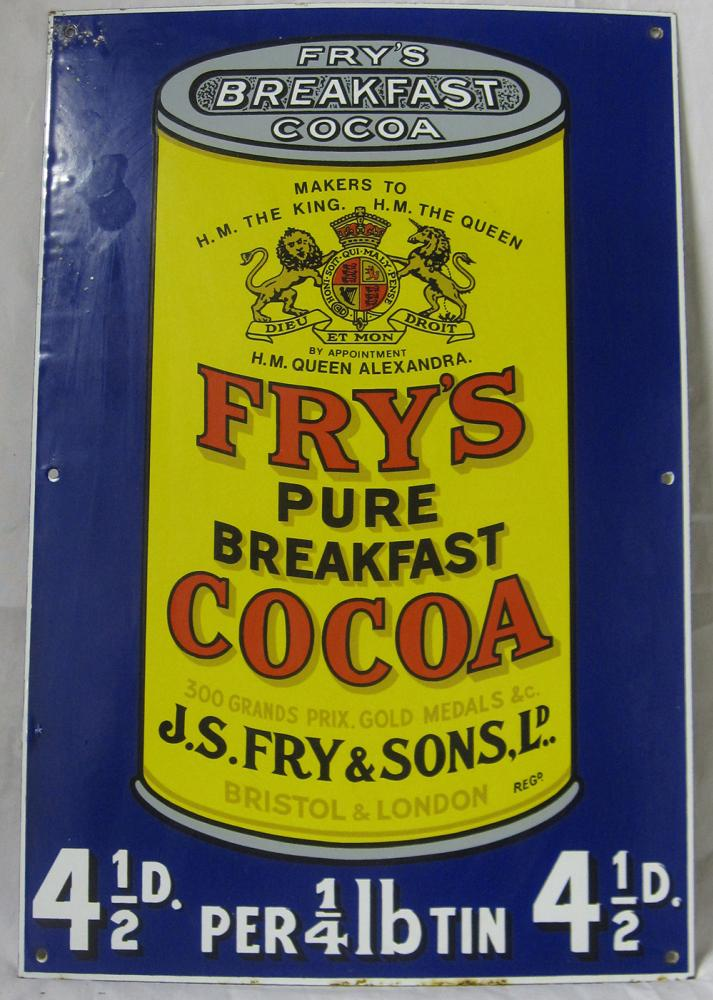 A Reproduction Enamel Advertising Sign. Frys Pure