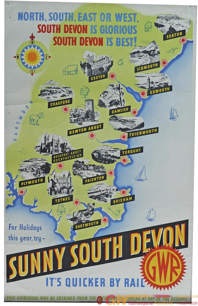 Poster GWR 'Sunny South Devon - North South East