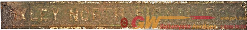 GWR Signal Box Name Sign OXLEY NORTH SIGNAL BOX.