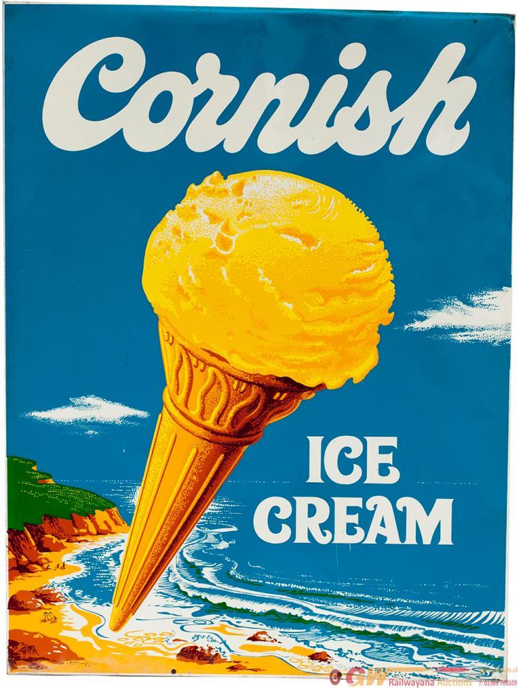 Advertising Sign CORNISH ICE CREAM Depicting The