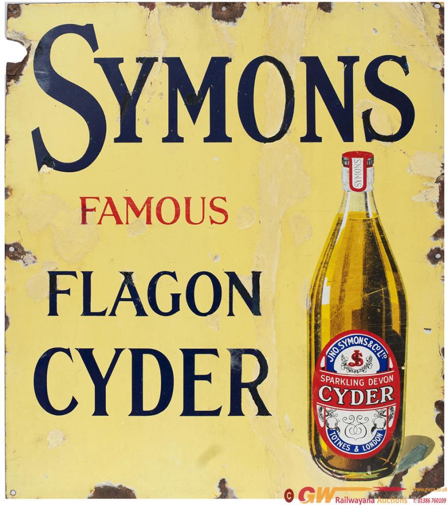 Enamel Advertising Sign SYMONDS FAMOUS FLAGON
