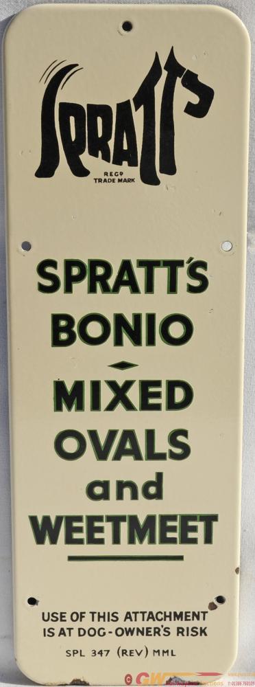 Enamel Advertising Sign Spratts Bonio Mixed Ovals