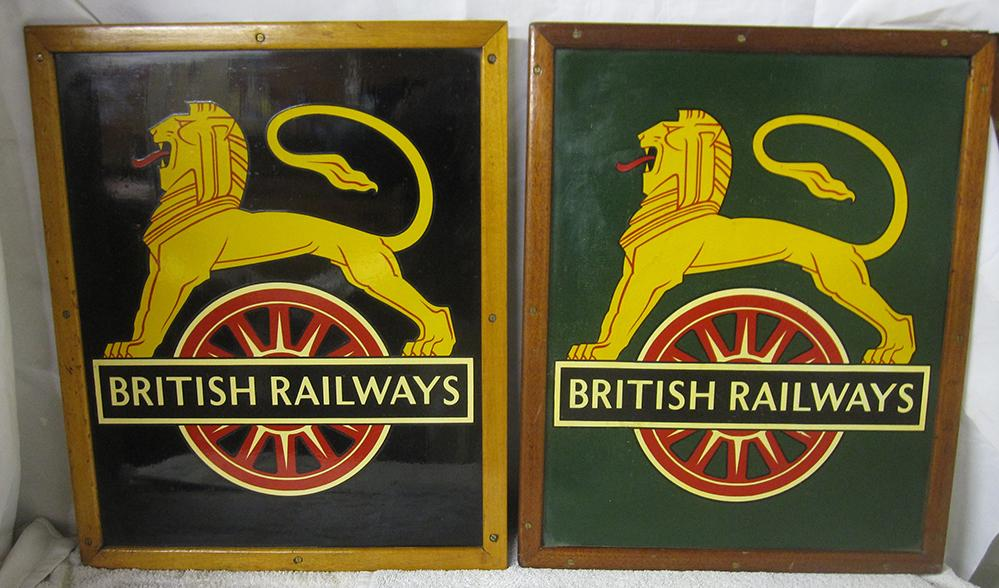 Two British Railways Painted Crests Mounted Within