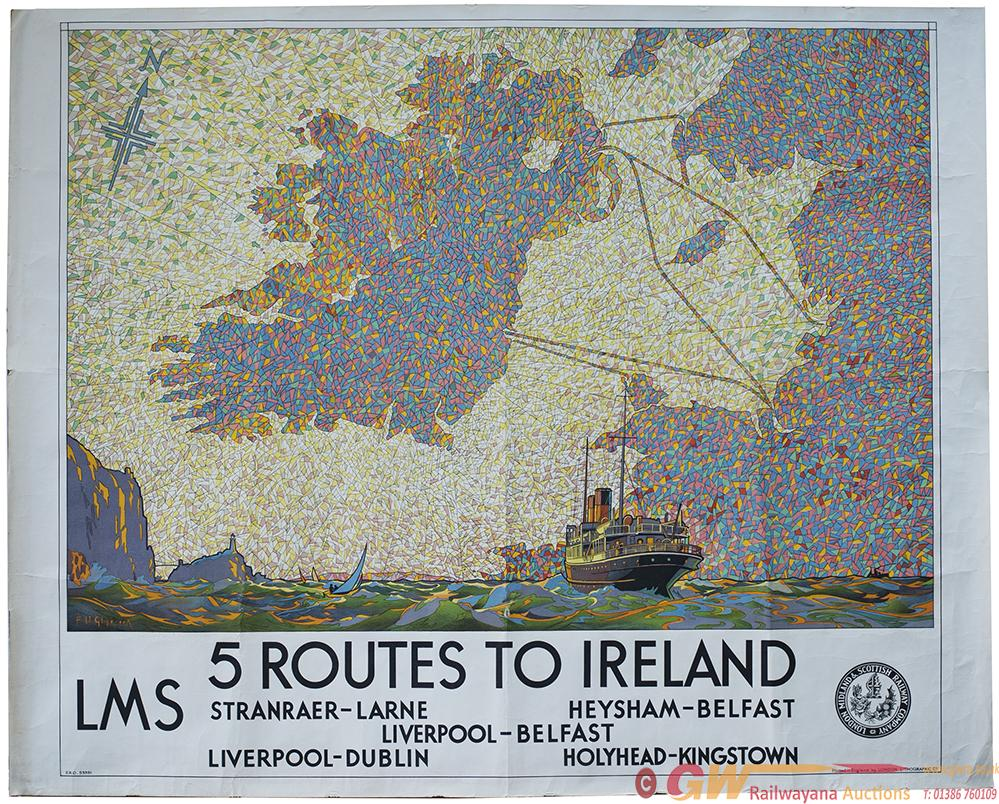Poster LMS 5 ROUTES TO IRELAND By F. H. Glinbrook.