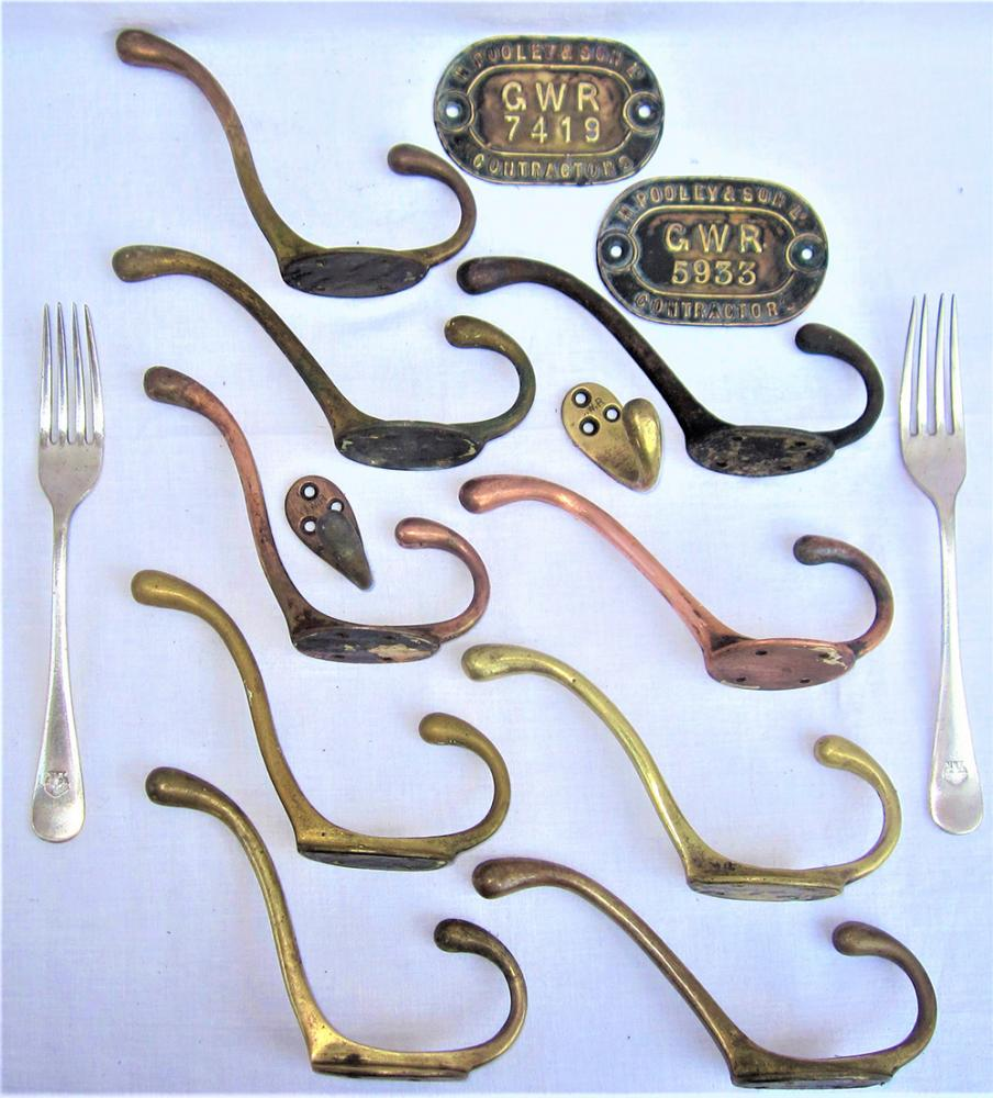 A Collection Of 11 X GWR Brass COAT HANGERS And