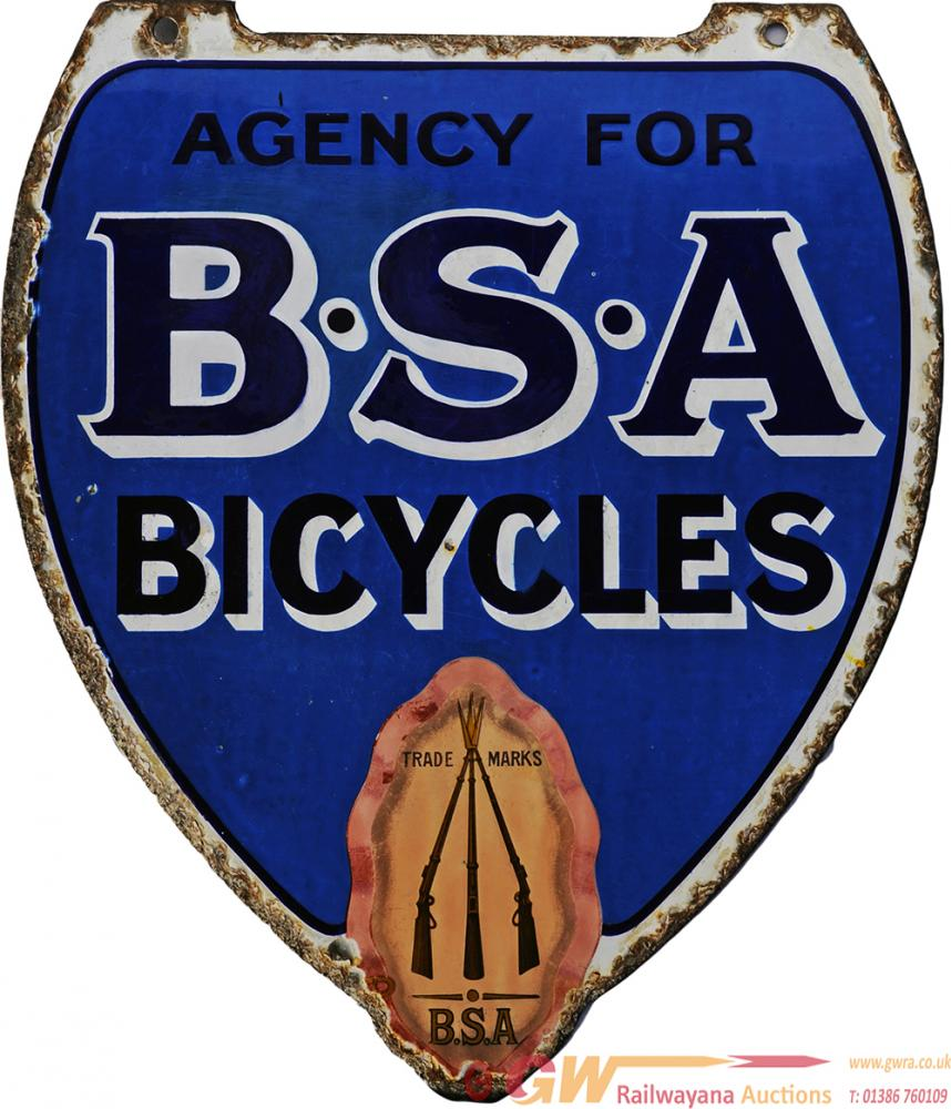 Enamel Advertising Sign 'Agency For BSA Bicycles'.