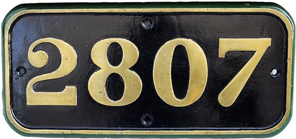 GWR Brass Cabside Numberplate 2807. Ex GWR 2-8-0
