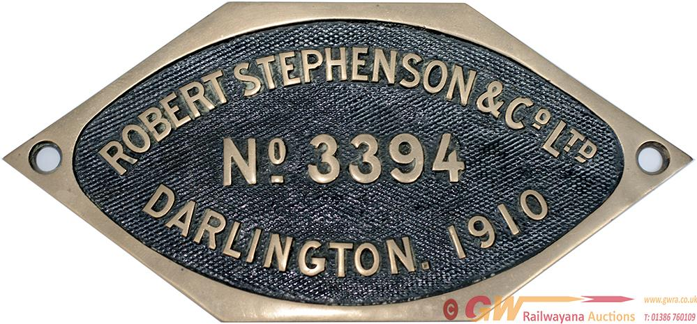 Worksplate Robert Stephenson & Co Ltd Darlington