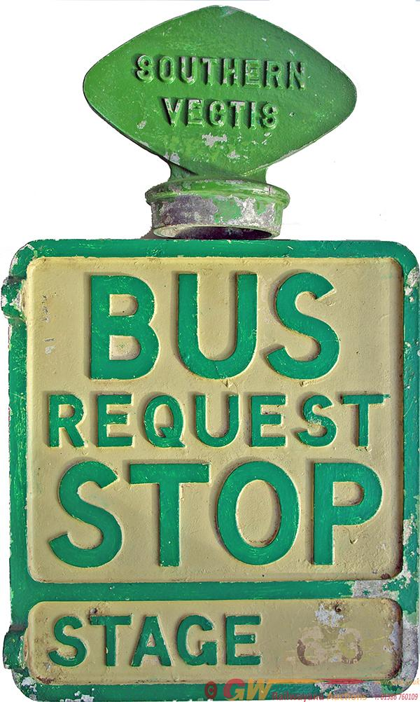 Southern Vectis Alloy Sign  'Bus Request Stop -