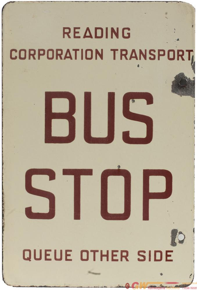 Motoring Bus Enamel Sign READING CORPORATION