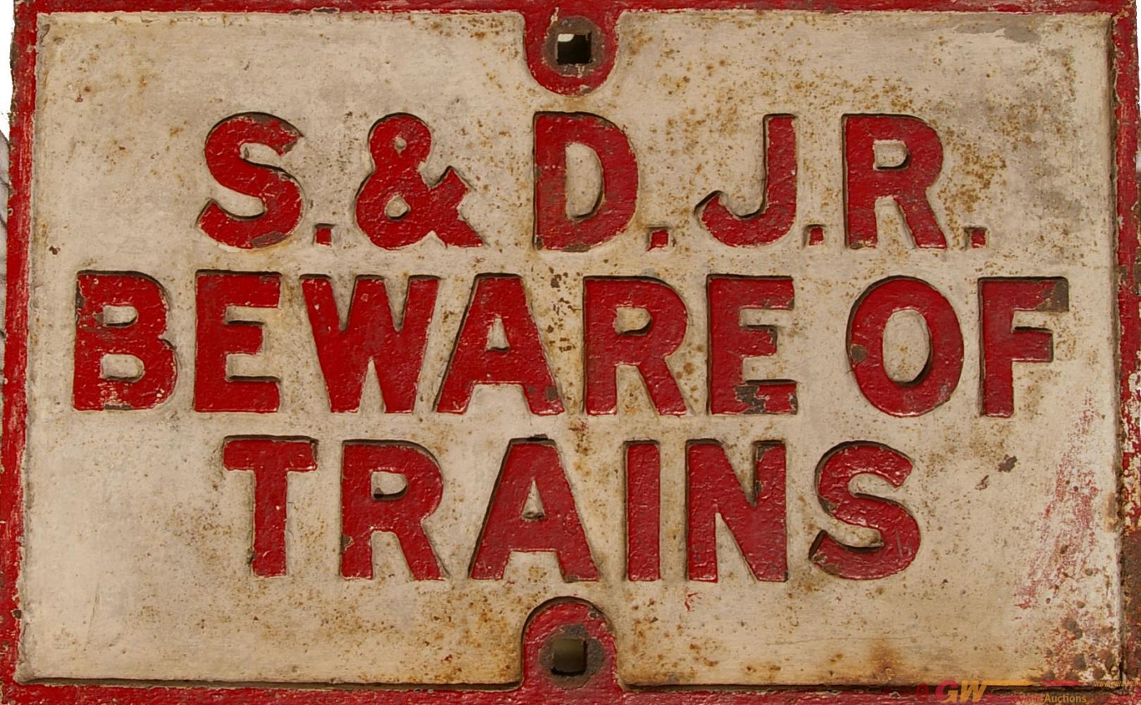 Somerset & Dorset C/I Beware Of Trains Notice.