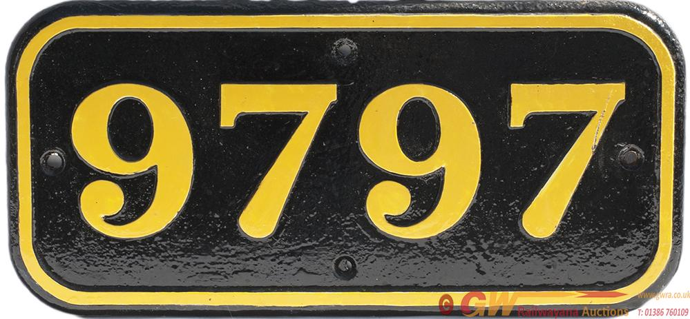 GWR Cast Iron Cabside Numberplate 9797 Ex Collett