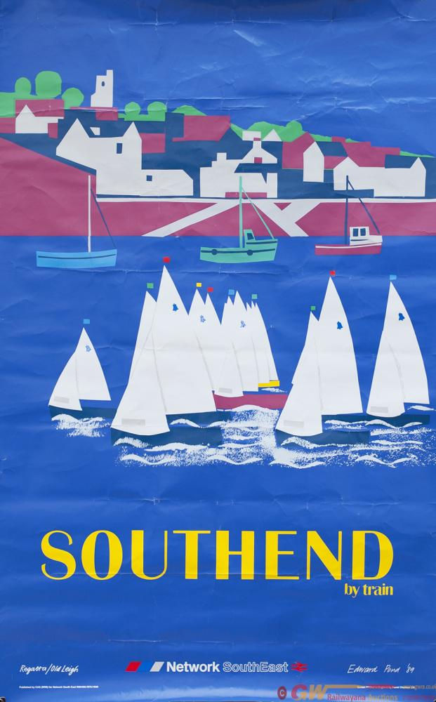 Poster NETWORK SOUTH EAST SOUTHEND BY TRAIN By