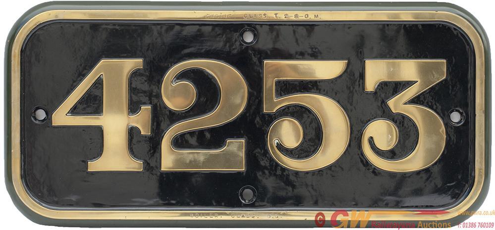 GWR Brass Cabside Numberplate 4253 Ex Churchward