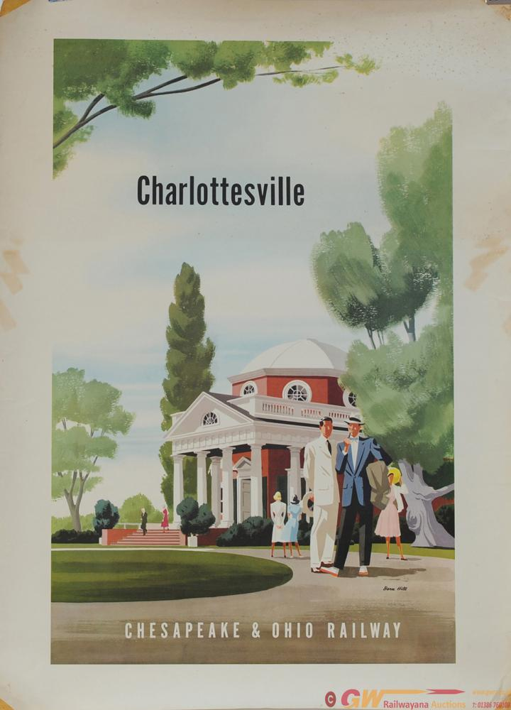 Poster CHESAPEAKE & OHIO RAILWAY. CHARLOTTESVILLE