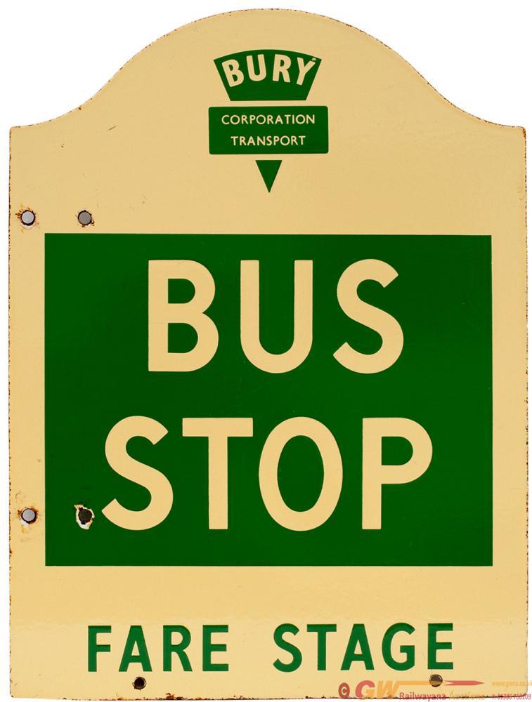 Enamel Bus Sign BURY CORPORATION TRANSPORT BUS