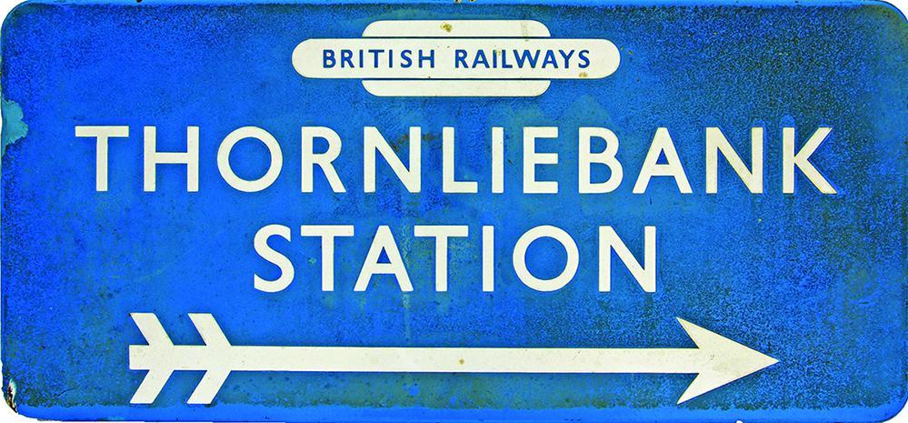 BR(Sc) Enamel Station Direction Sign THORNLIEBANK