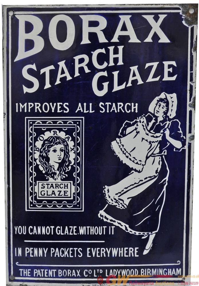 Enamel Advertising Sign 'Borax Starch Glaze'.