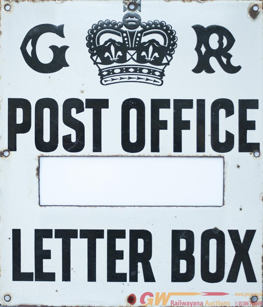 Post Office Enamel Sign G.R. POST OFFICE LETTER