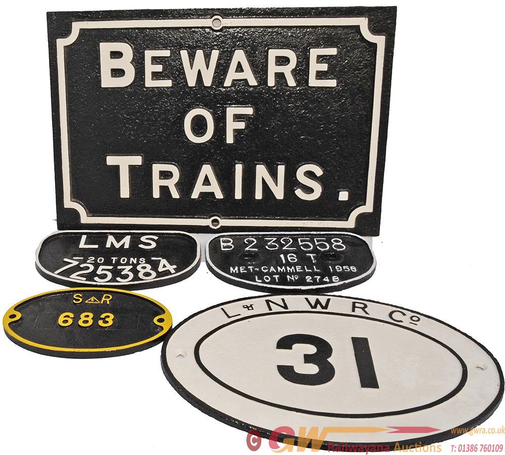 Midland Railway Cast Iron Beware Of Trains Sign