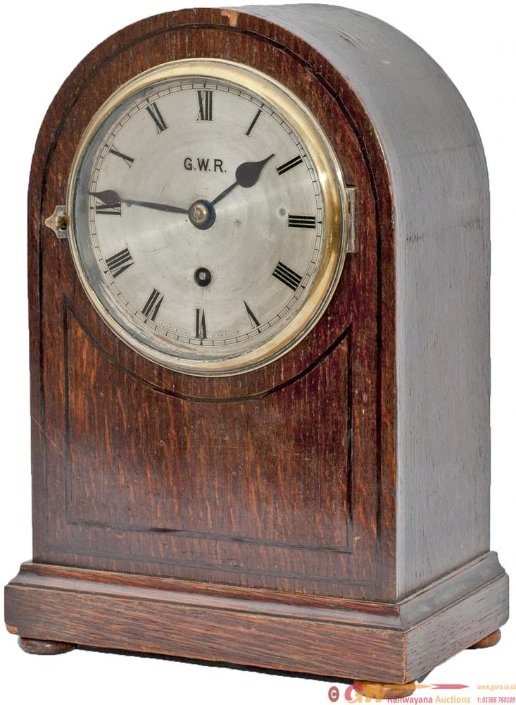 GWR Fusee Bracket Clock With Silver Engraved Dial