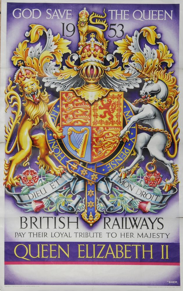 Poster, British Railways ' God Save The Queen 1953