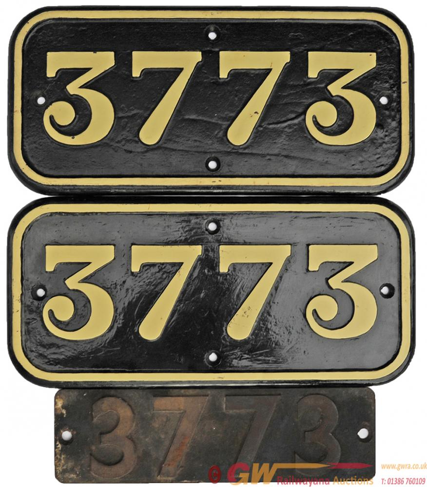 GWR Cast Iron Cabside Numberplates 3773 Both Sides