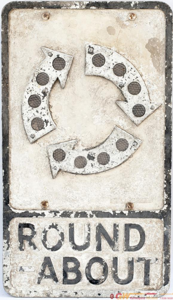 Road Motoring Sign ROUND-ABOUT. Cast Aluminium