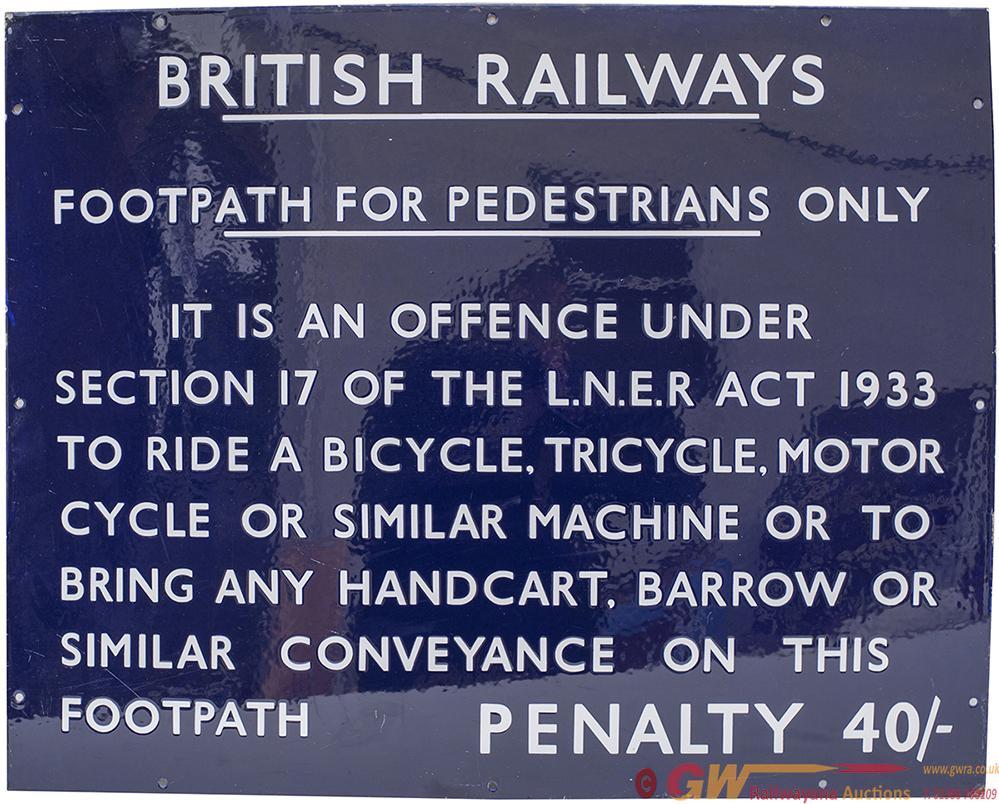 BR(E) Enamel Sign BRITISH RAILWAYS FOOTPATH FOR