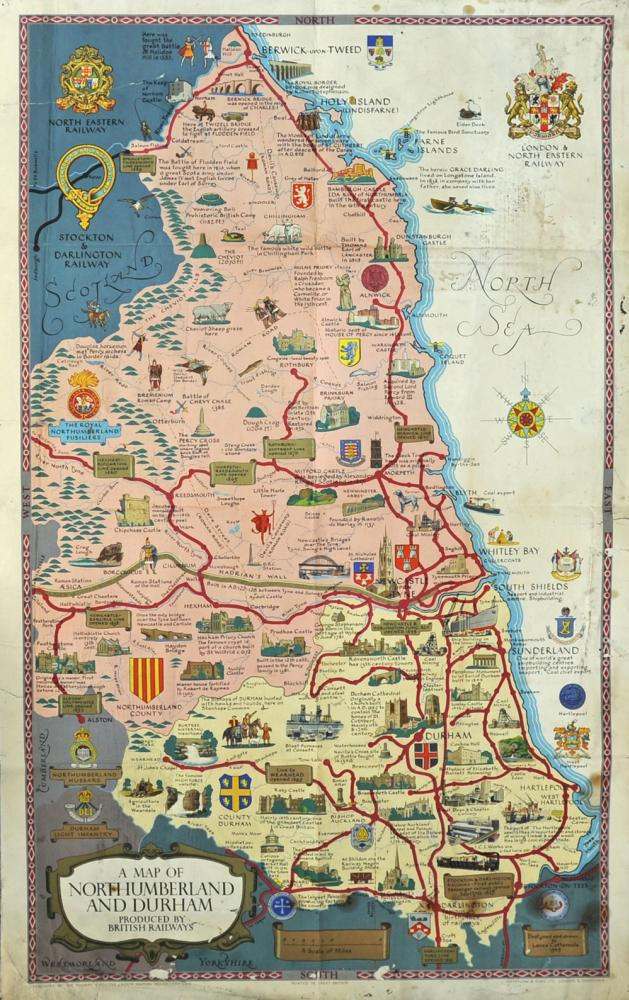BR Poster Map Of Northumberland & Durham, Double