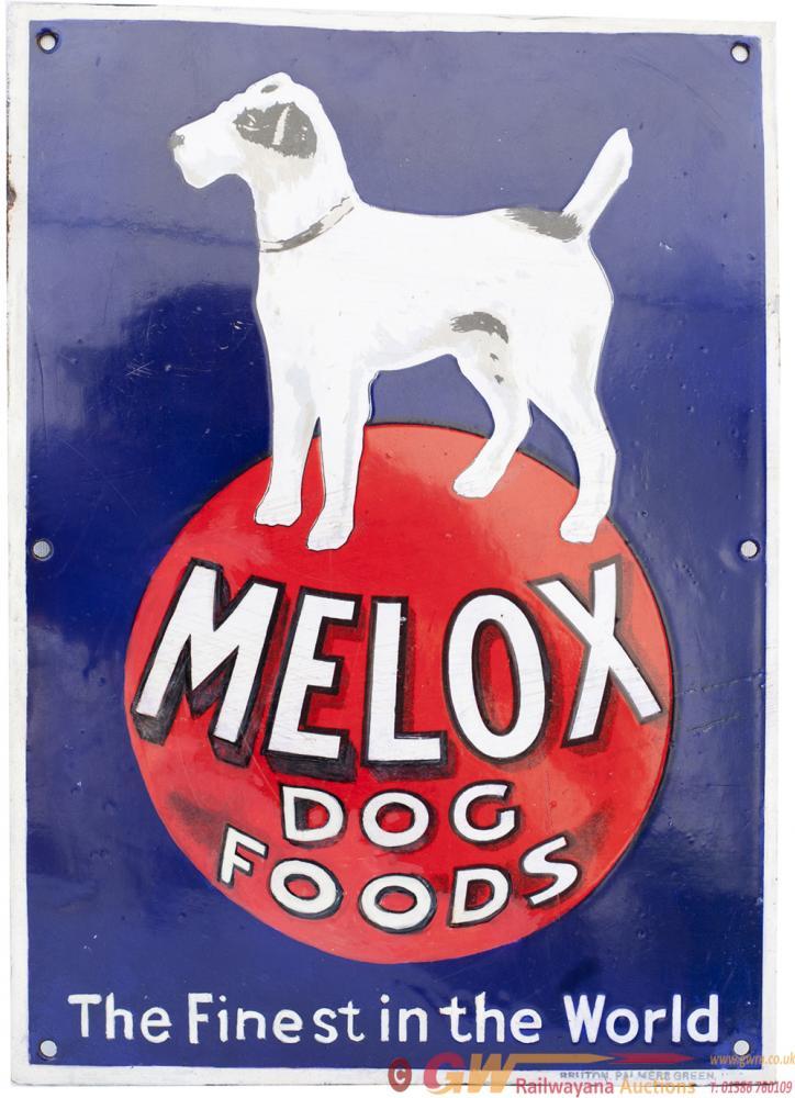 Advertising Semi Pictorial Enamel Sign MELOX DOG
