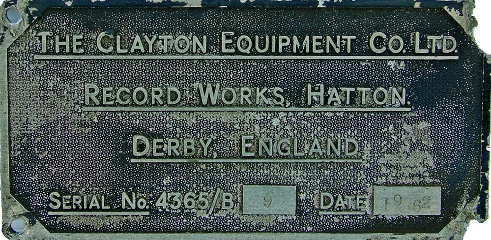 Worksplate, The Clayton Equipment Co. Ltd, Record