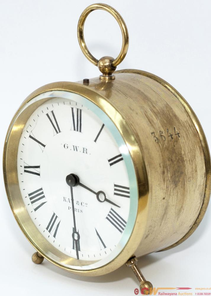 GWR Brass Drum Clock With Enamelled Dial GWR KAY &