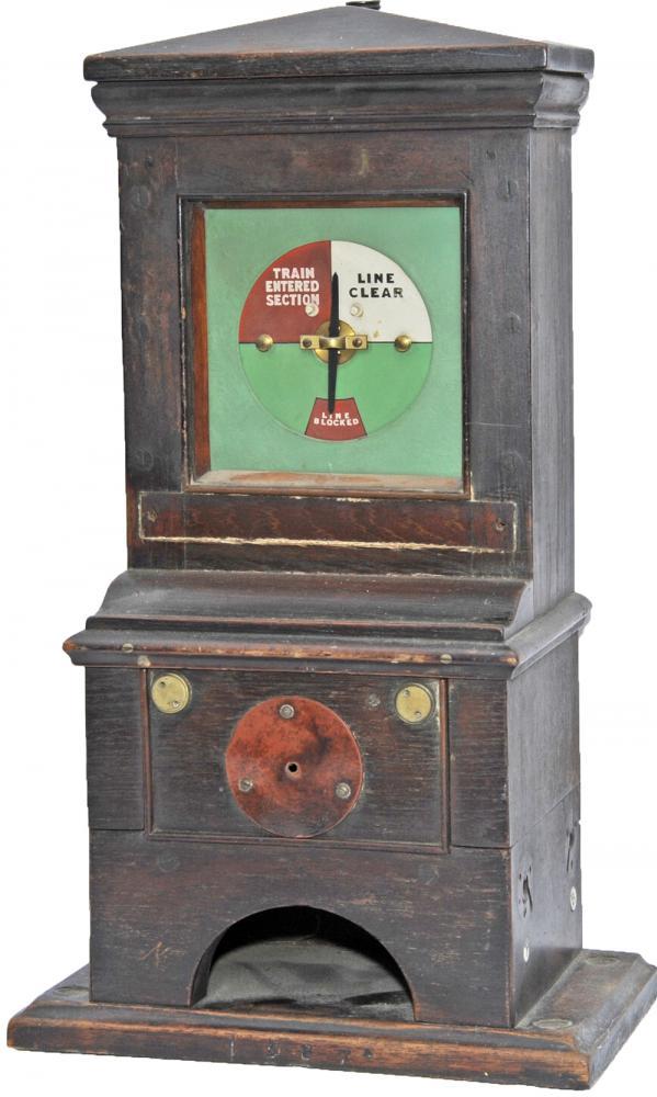 Signal Box Mahogany Cased Block Instrument Showing