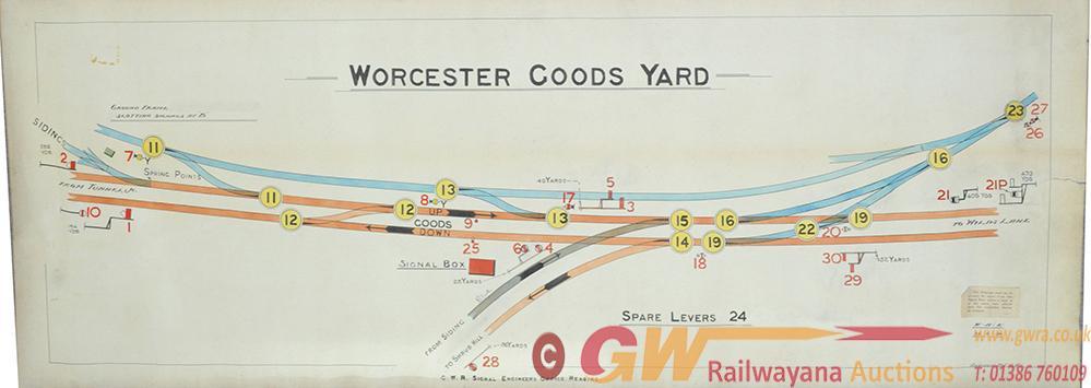 GWR Signal Box Diagram 'Worcester Goods Yard' Hand